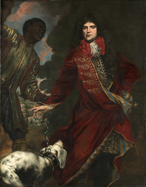 , 'Portrait of a gentleman wearing a red tailcoat, with hound and black servant,' ca. 1690, Brun Fine Art