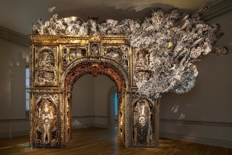 Michael Garlington and Natalia Bertotti, The Paper Arch, 2018. Photo by Ron Blunt.