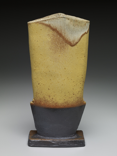 , 'Tapered vase form, yellow glaze with iron slip and natural ash,' , Pucker Gallery