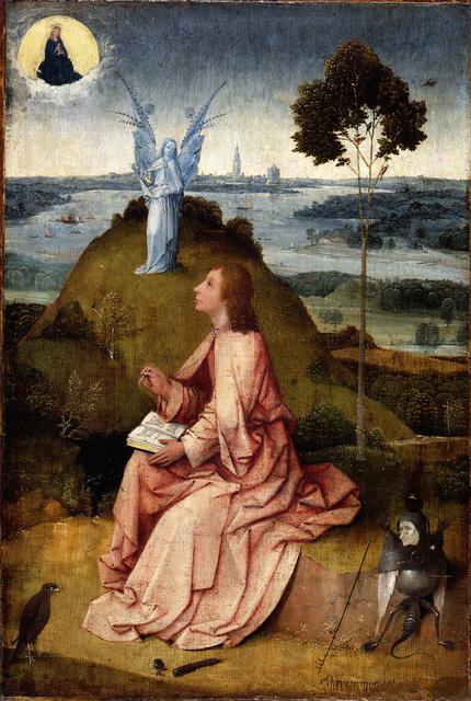 , 'Saint John the Evangelist on Patmos / The Passion of Christ,' ca. 1505, Museo Nacional del Prado