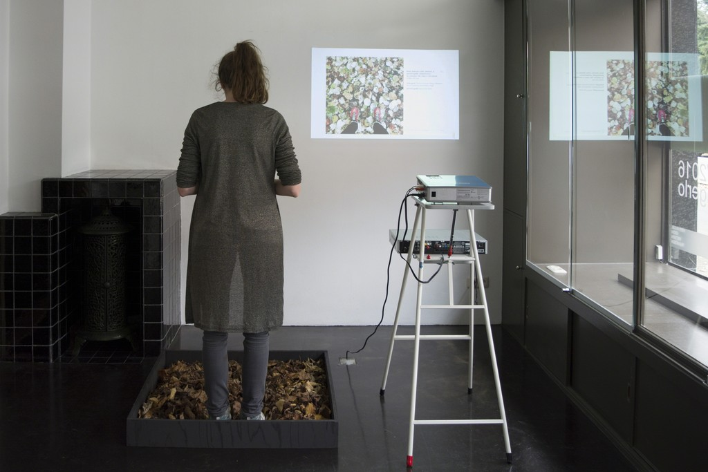 Installation view with artist of '#autumnleaves', part of Hester van Tongerlo's solo exhibition 'Copy Paste'. Read more about Hester's residency and this exhibition: http://www.seafoundation.eu/hester-tongerlo-artist-residence-1/