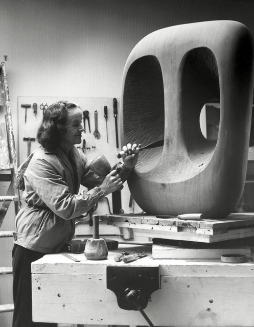 Barbara Hepworth, 'Barbara Hepworth in the Palais studio at work on the wood carving Hollow Form with White Interior', 1963, Tate Britain