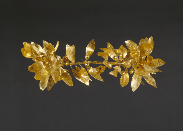 'Wreath with detached stem including leaves and detached berries', 300 -100 BCE, J. Paul Getty Museum