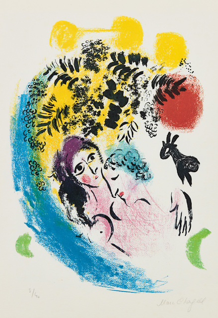 Marc Chagall, 'Les Amoureux au soleil rouge (The Lovers in the Red Sun)', 1960, Print, Lithograph in colors, on Arches paper, the full sheet., Phillips