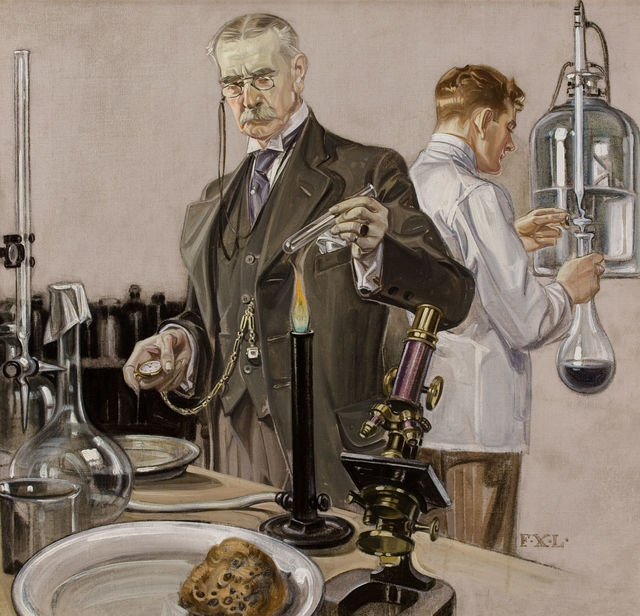 Francis Xavier Leyendecker, 'Timing an Experiment, Howard Watch Advertisement Illustration', 1910, The Illustrated Gallery