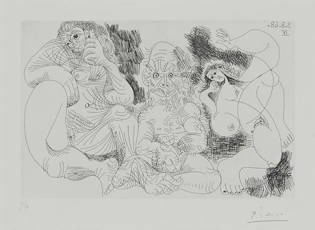Pablo Picasso, 'Vieillard Assis Avec Une Femme, Et Danseuse (From 347 Series, Pl. 239)', 1968, Print, Etching and drypoint on Rives BFK paper, Waddington's