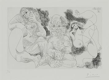 Vieillard Assis Avec Une Femme, Et Danseuse (From 347 Series, Pl. 239)