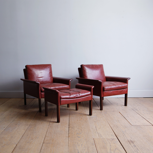, 'ROSEWOOD ARMCHAIRS AND OTTOMAN IN ORIGINAL OXBLOOD LEATHER,' 1960, Lawton Mull