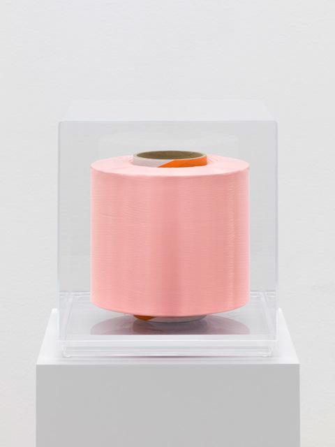 Alberto Garutti, 'Filo lungo 549 km: da Berlino a Villa Tugendhat a Brno / Line 549 km long: from Berlin to Villa Tugendhat in Brno', 2015, Sculpture, Light pink nylon thread on cardboard reel, Buchmann Galerie