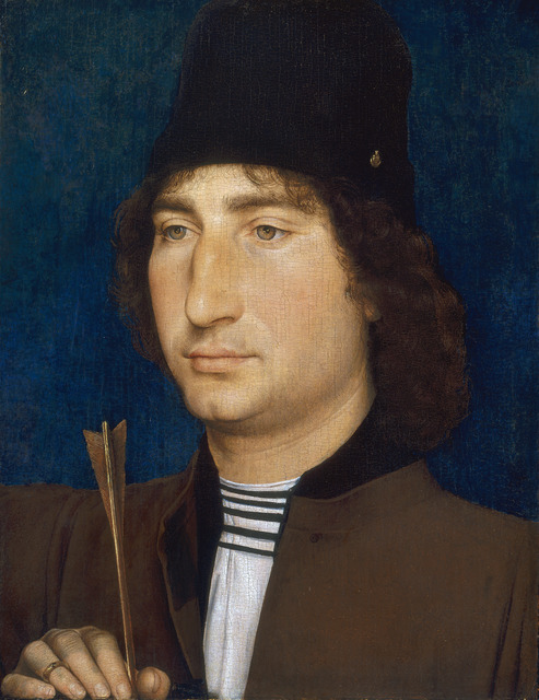 Hans Memling, 'Portrait of a Man with an Arrow', ca. 1470/1475, Painting, Oil on panel, National Gallery of Art, Washington, D.C.
