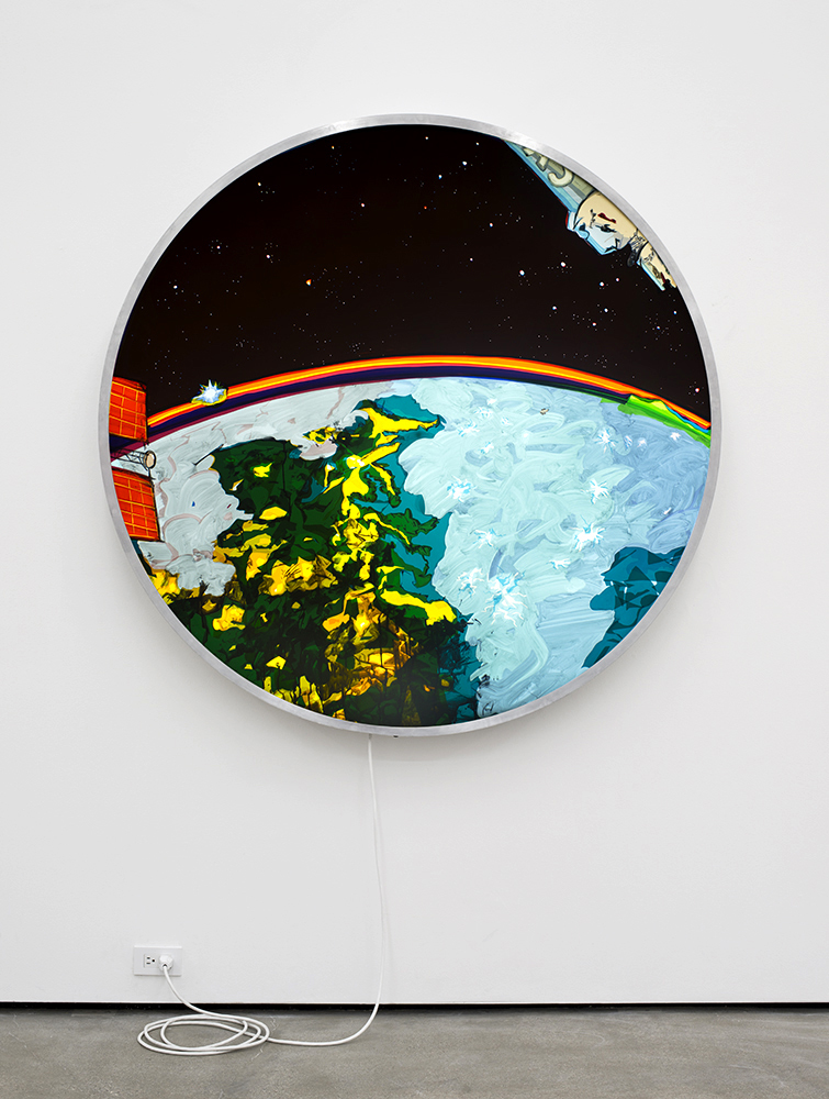 KeyHole Satellite  USA-186  (Conceptual Rendering-Actual Photos of USA-186 are Classified) Eastern Seabord Lightning Storm, Northern Lights, Moonrise