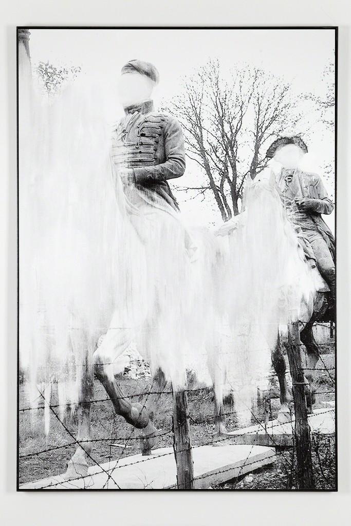 Daniel Poller, »Reitkunst und Führungsstil«, 2017, erased pigment print, 160 x 110 cm, unique, from the series: Der große Gewinn, solo show, G2 Projektraum // G2 Kunsthalle Leipzig, 13 Oct – 1 Nov 2017 © the artist