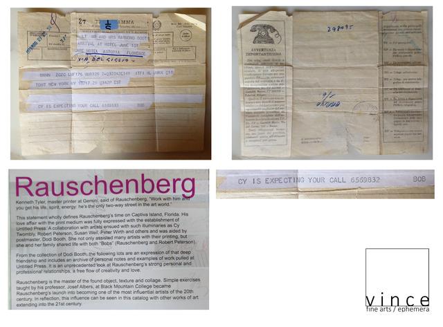 "Robert Rauschenberg, '""Cy is expecting your call 656-9832, Bob"", Telegram', 1973, Ephemera or Merchandise, Ink on Paper, VINCE fine arts/ephemera"