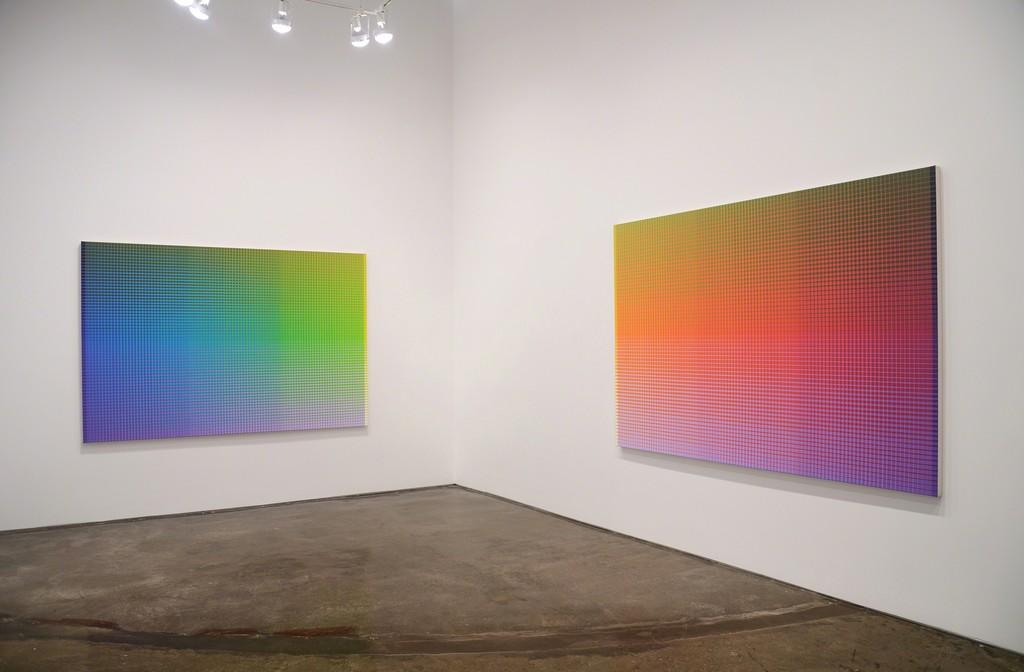 Installation view of Gabriele Evertz / Sanford Wurmfeld: Polychromy, MINUS SPACE, 2017