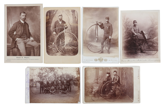 'Cycling Interest, Cabinet Cards (6)', c.1880/90s, Chiswick Auctions