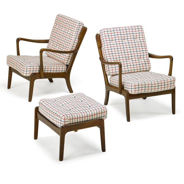 Ole Wanscher, 'Pair Of Lounge Chairs And Ottoman, model FD/124', 1950s, Rago/Wright