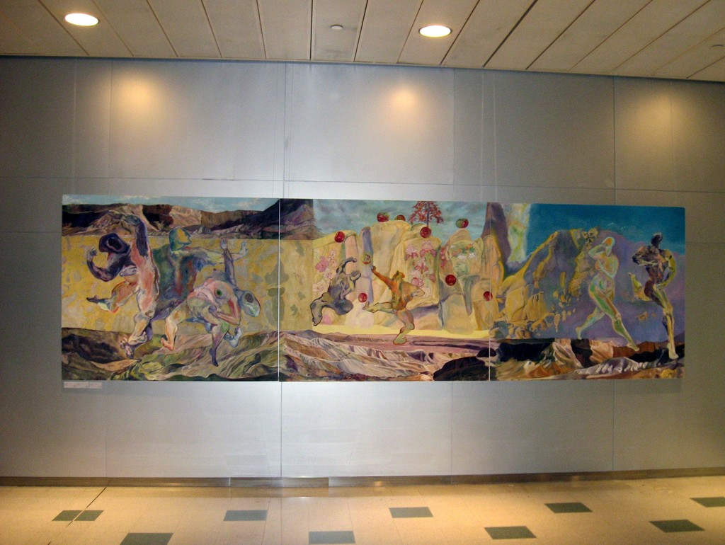 Elaine Galen's Creation Triptych, Oil on Canvas, 60x210.  On exhibit in NYC.  Now part of James A. Michener Museum collection