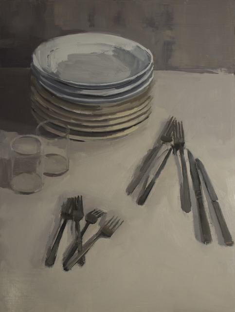 , 'Stacks of Plates with Flatware and Glasses,' , March