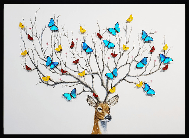 """SN, 'Wish Tree ', 2019, Painting, Oil on canvas with mounted butterflies. Enclosed in a wooden frame with """"optimum museum acrylic"""" which filters UV radiation and gives a clear image and glare control., Eden Fine Art"""