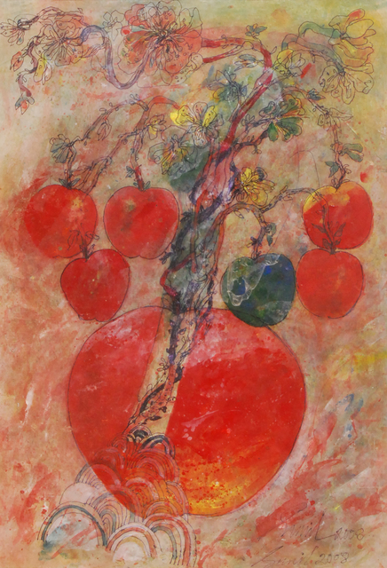 , 'Mother & Child in bright red and green watercolor by Padma Shree Artist Sunil Das,' 2008, Gallery Kolkata