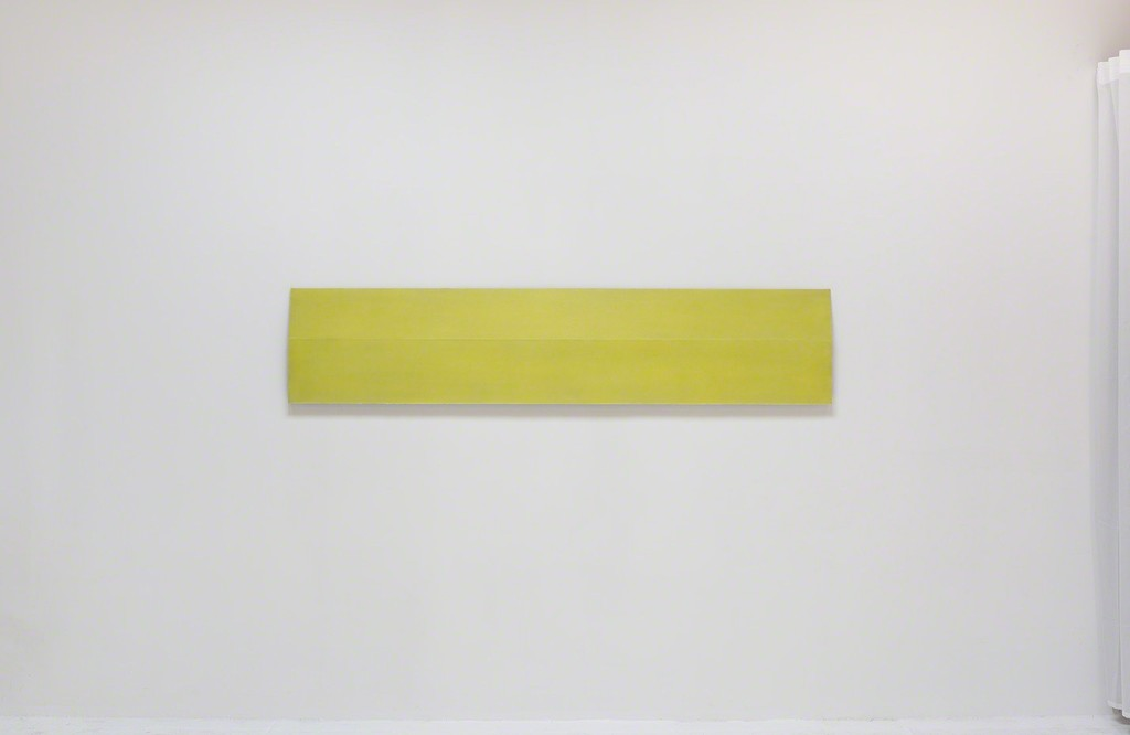 Roy Thurston, '2015-1', 2015, yellow silicone on aluminum panel, 72 x 30 x 1.6 inches