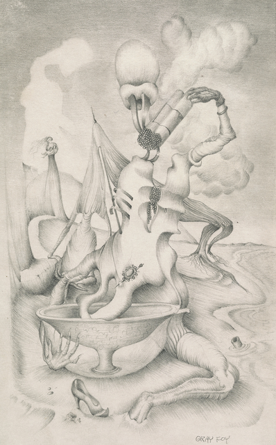 , 'Untitled [Landscape with Morphing Figures over Basin],' ca. 1944, Francis M. Naumann Fine Art