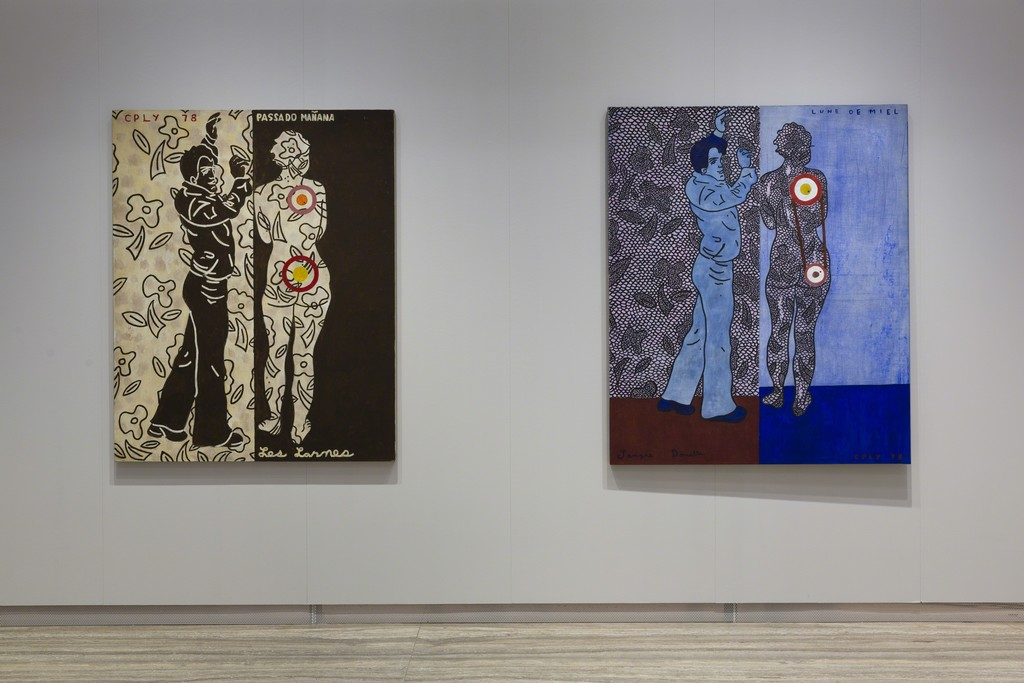 """William N. Copley"" View of the exhibition 20 October 2016 – 8 January 2017. Left: William N. Copley Passado Mañana, 1978. Right: William N. Copley Lune de Miel, 1978. Fondazione Prada, Milan. Photo Roberto Marossi. Courtesy Fondazione Prada"