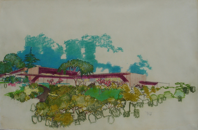 Richard Neutra, 'Perspective Rendering, Unidentified Residence', circa 1954, Edward Cella Art and Architecture
