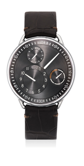 Ressence, 'A fine and unusual titanium wristwatch with orbiting hour, day display, frisbee, warranty card and presentation box', 2015, Phillips