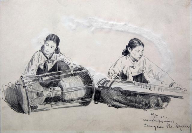 , 'Women Playing Folk Instruments,' 1954, Hakgojae Gallery