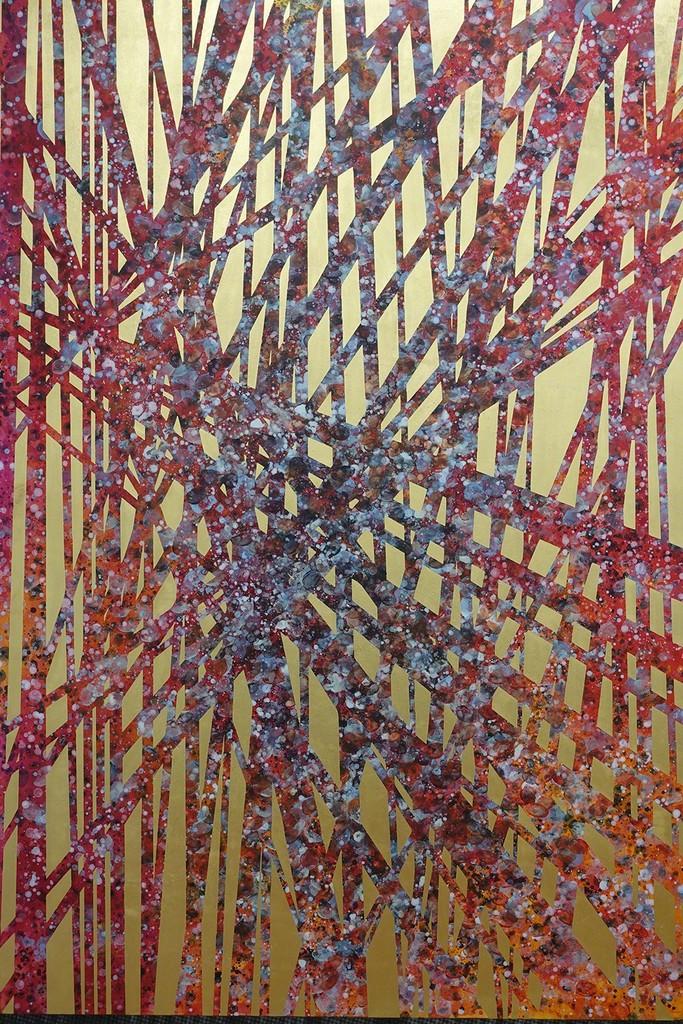 Gabriele Angel Leinenbach, Con-fusion 5 (Detail), 2017, 100 x 150 cm, 24 Karat Blattgold gelb, Acryl auf Holzbox