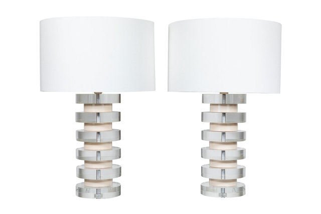 Style of Karl Springer, 'Monumental Pair of Stacked Lucite Lamps in the Style of Karl Springer', ca. 1980, On Madison