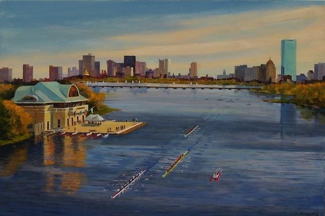 Frederick Kubitz, 'BU Boathouse, Head of Charles Regatta', 2018, Painting, Oil, The Guild of Boston Artists