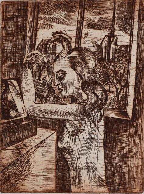 Conrad Felixmuller, 'Woman in the Morning - Grooming | Frau in der Morgen Kämmen', 1920, Gilden's Art Gallery
