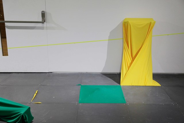 Christopher K. Ho, 'Fabric, drywall, concrete fragment, C-clamps', 2018, de Sarthe Gallery