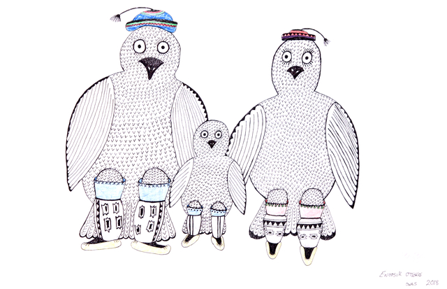 , 'Untitled (Owl Family),' 2019, Madrona Gallery