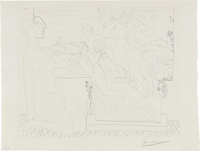 Pablo Picasso, 'Modèle contemplant un Groupe sculpté (Model Contemplating a Sculpture), plate 66, from La Suite Vollard', 1933, Phillips