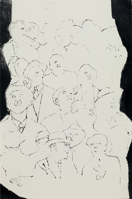 Andy Warhol, 'Crowd of Male Upper Torsos', 1954, Susan Sheehan Gallery