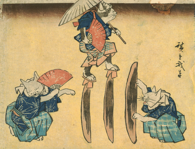 , 'Cat Crossing to Eat,' 1830-1844, Japan Society