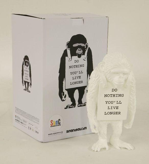Banksy, 'Monkey Sign - Do Nothing You'll Live Longer (White)', 2016, Sworders