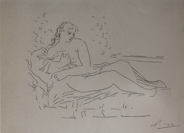 Pablo Picasso, 'Femme Couchee (Lying Woman), 1949 Limited edition Lithograph by Pablo Picasso', 1949, Reproduction, Lithograph, White Cross