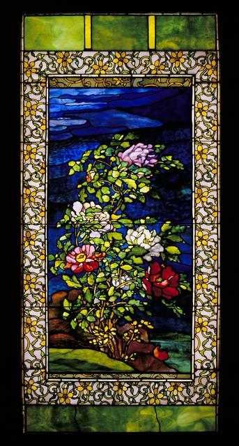 John La Farge, 'Window: Peonies in the Wind', ca. 1893, Design/Decorative Art, Leaded glass with copper foil, Seattle Art Museum