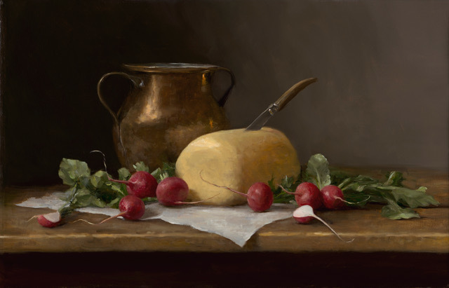 Sarah Lamb, 'Radishes and Amish Rolled Butter', 2019, Painting, Oil on canvas, Grenning Gallery