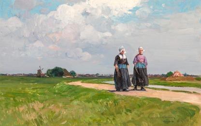 Afternoon Stroll in Summer, Volendam, Holland,