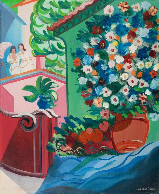 , 'Vaso de Flores e Moças no Alpendre,' Final da década de 1950, Simões de Assis Galeria de Arte