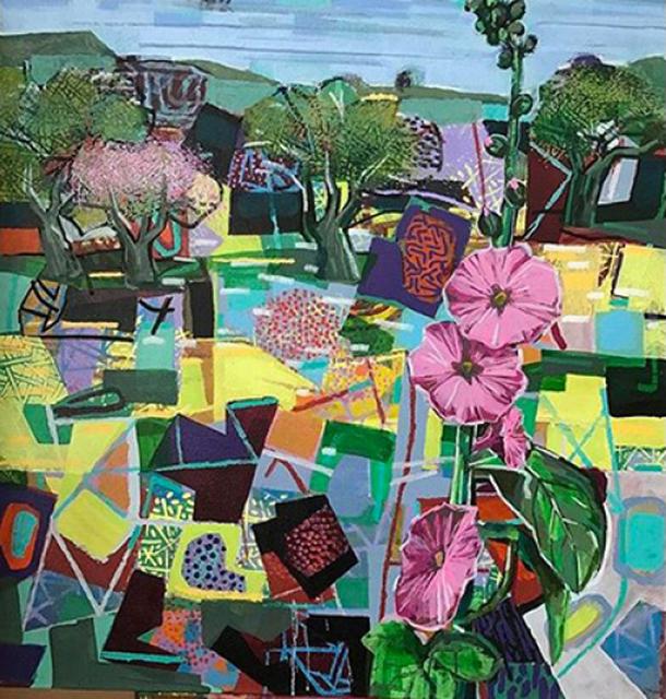 David Gerstein, 'Landscape with Hollyhock', 2019, Painting, Acrylic on canvas, Galerie Duret