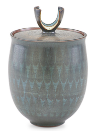 Covered jar with teardrop pattern and curved finial, Claremont, CA
