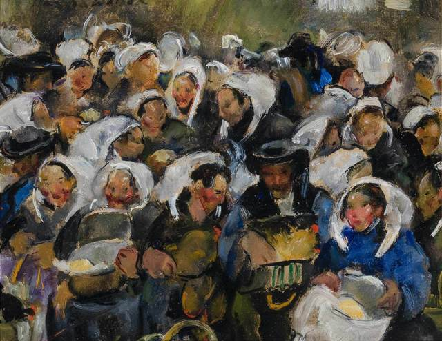 Martha Walter, 'Butter Market at Morlain', 1921, Painting, Oil on board, Doyle