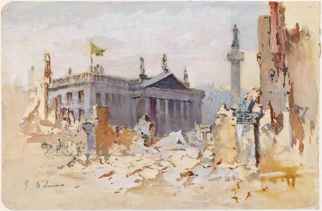 , 'Sackville Street in Ruins,' 1916, National Gallery of Ireland