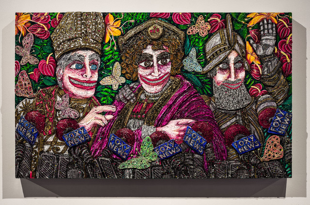 Federico Solmi, 'The Amiable Deceivers', 2020, Mixed Media, Acrylic paint, gold leaf, silver leaf,pen and ink, and mixed media on wood panel with shaped wood relief, Luis De Jesus Los Angeles